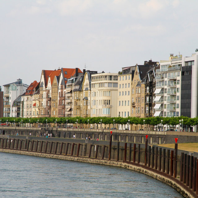 Residential houses along the Rhine esplanade.