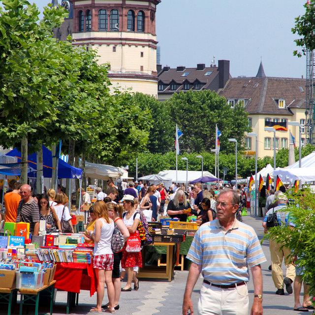 Book sale along the Rhine esplanade.