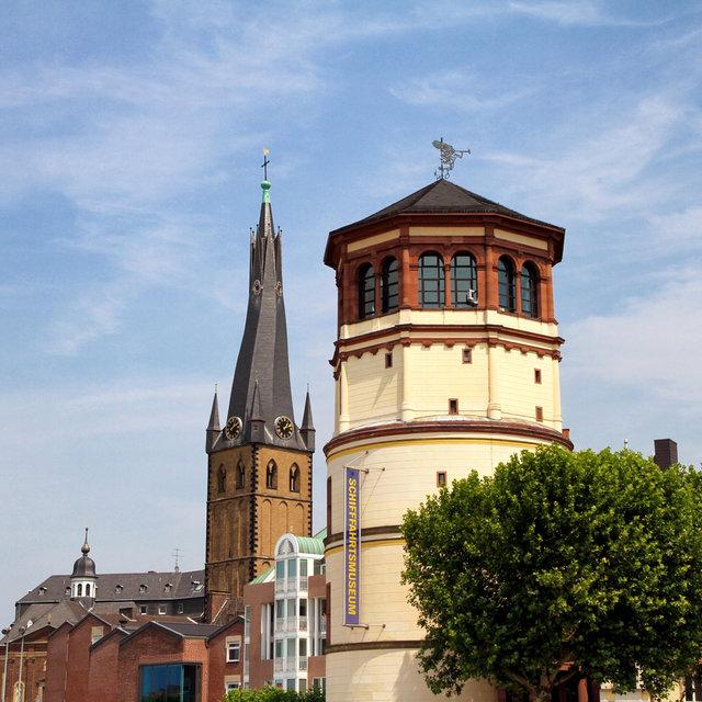 The Schlossturm and St. Lambertus church near the Burgplatz in Düsseldorf.