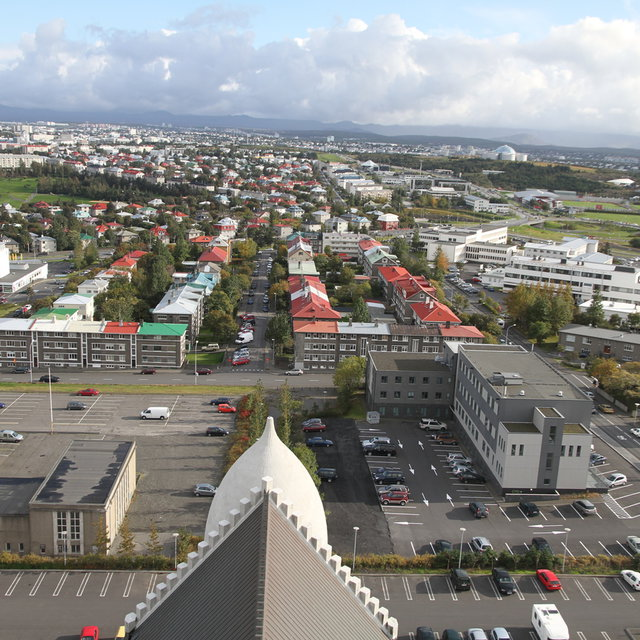 View over Reykjavík from the tower of Hallgrímskirkja.