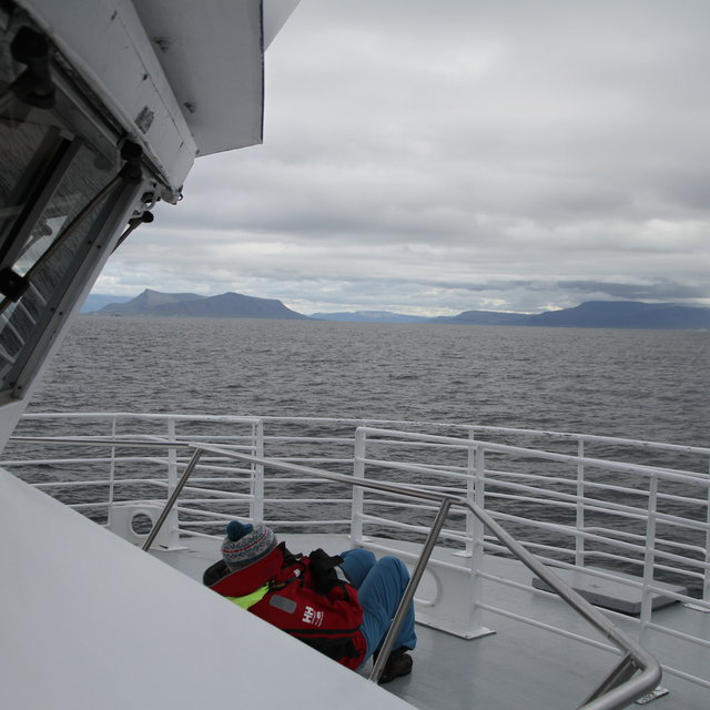 View of the bow of the whale watching boat.