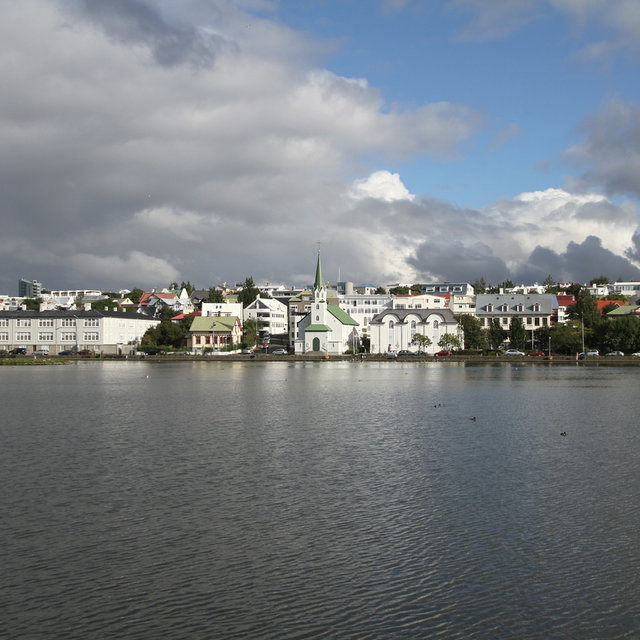 Fríkirkjan seen from across Tjörnin.