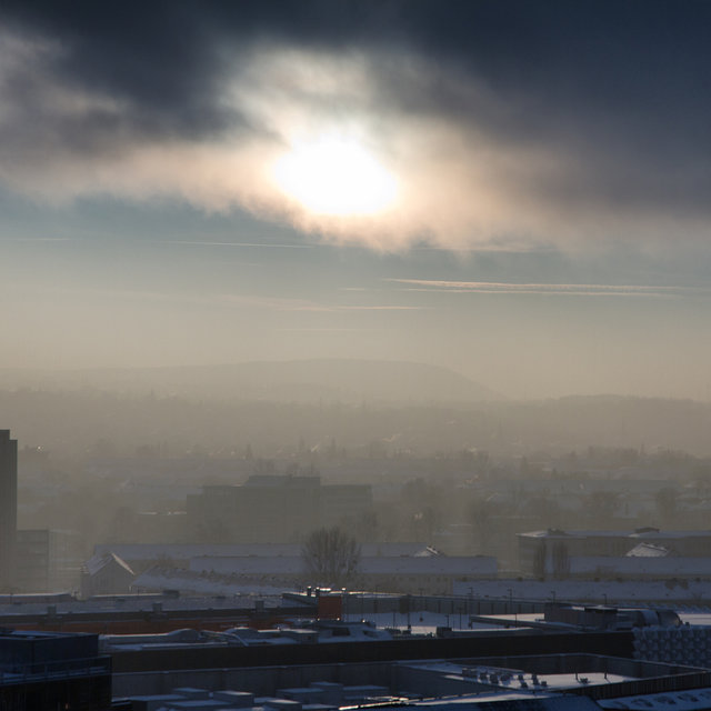 View over winterly Dresden.