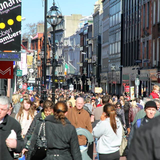 View along Grafton Street in Dublin.