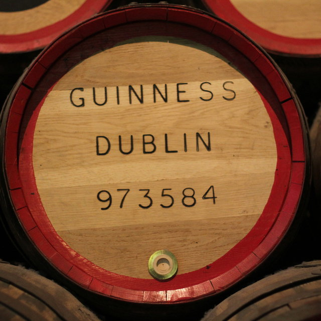 A barrel used for transporting Guinness.