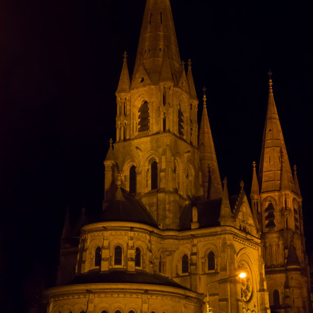 Saint Fin Barre's Cathedral illuminated at night.