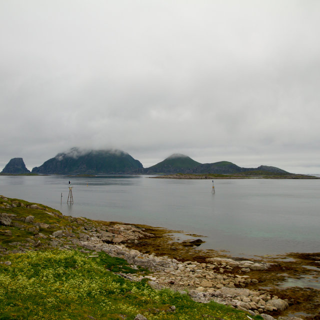 View over the Lille Nordøya island outside the harbour of Gjesvær.
