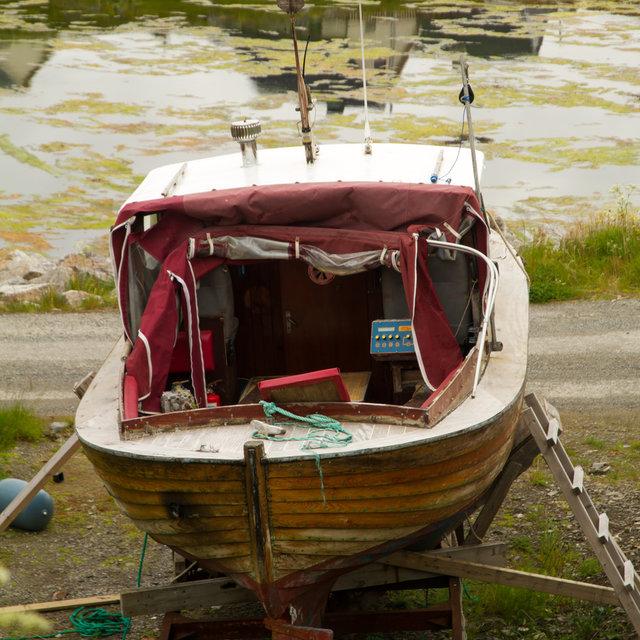 Boat stored on land in Gjesvær.
