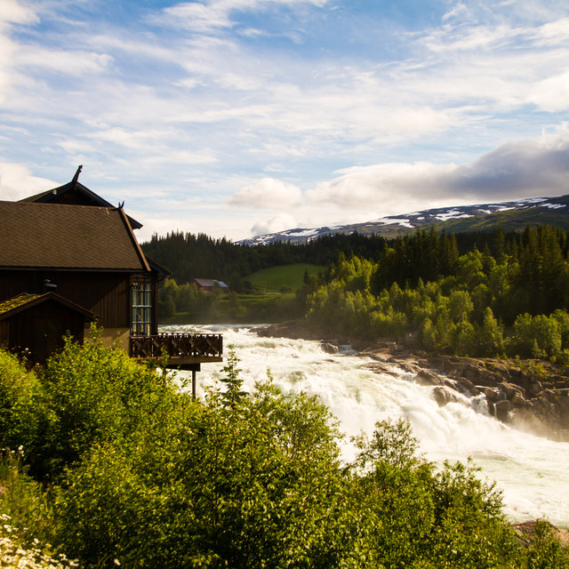 View of the Laksforsen waterfall in Norway.