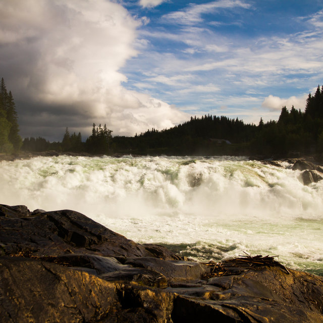 View of the Laksforsen waterfall in Norway