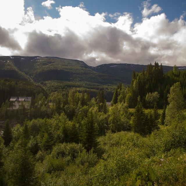 Hills near the Laksforsen waterfall.