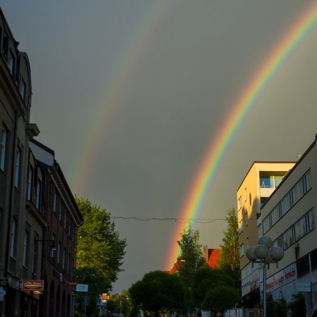 A double rainbow in the streets of Östersund.