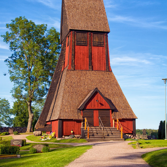 The bell tower of the church in Gamla Uppsala.