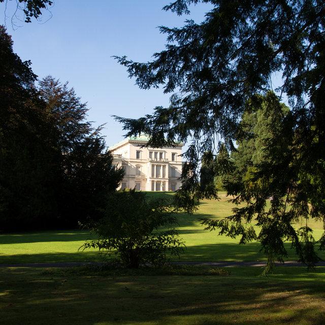 View of the Villa Hügel in Essen from its gardens.