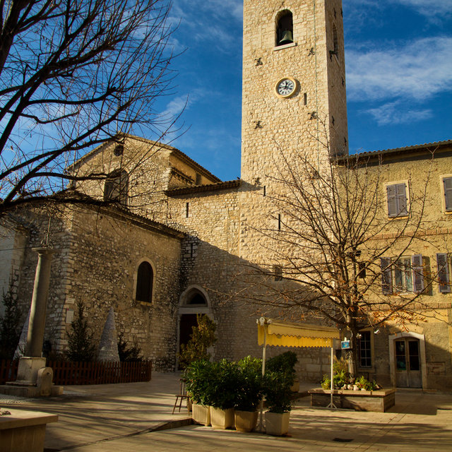 View of the bell tower of the Vence Cathedral.