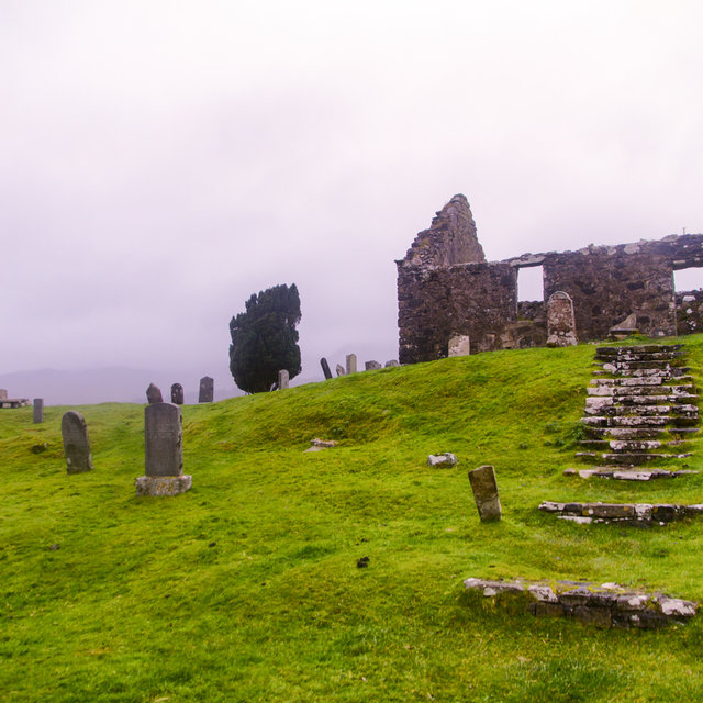 View over the ruins of an old chruchyard just outside of Kilbride.