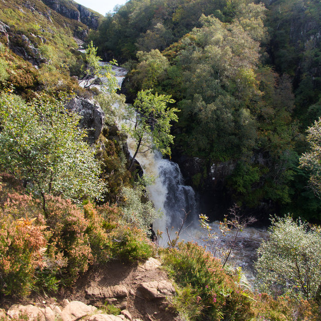 Falls of Kirkaig seen from the top of the path.