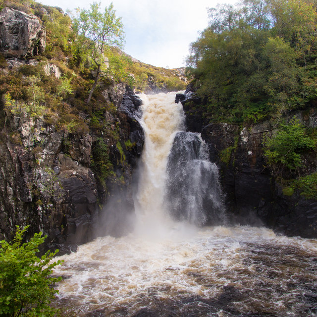 Falls of Kirkaig seen from the bottom of the slope.