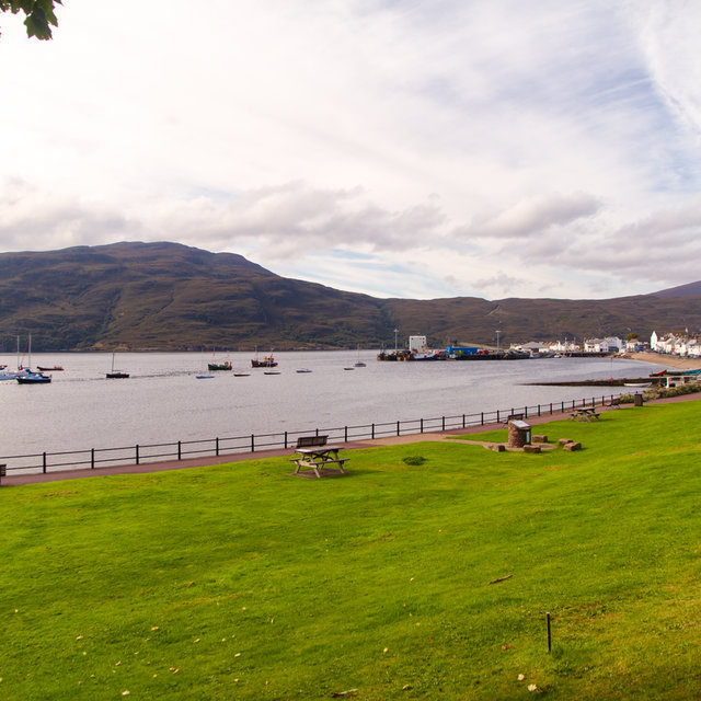View across Ullapool harbour.