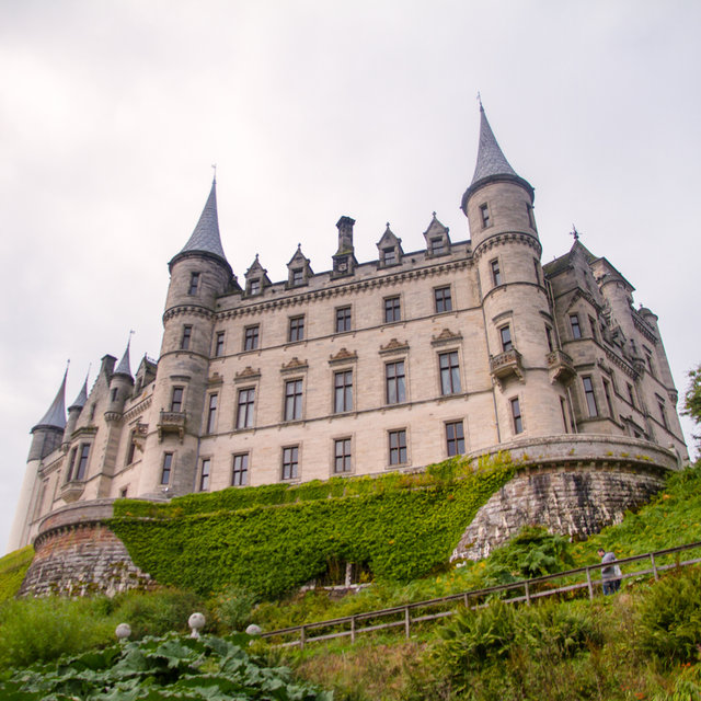 View from the gardens onto Dunrobin Castle.
