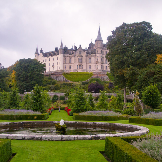 View over the French formal garden towards Dunrobin Castle.