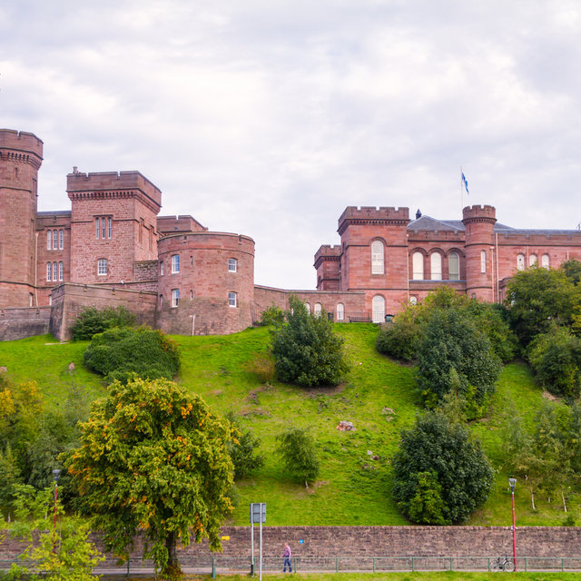 View from the River Ness onto Inverness Castle.