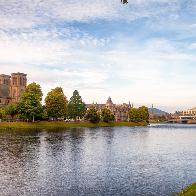 View over the River Ness with Inverness Cathedral on the left.