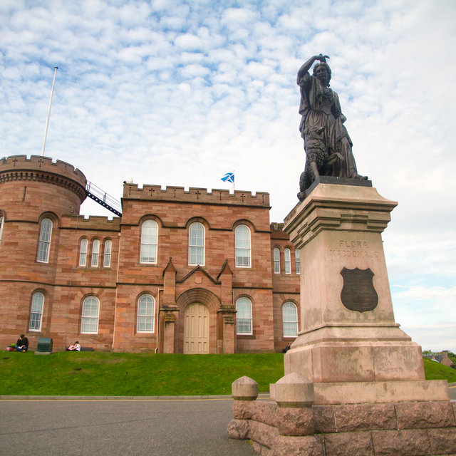 Statue of Flora MacDonald in front of Inverness Castle.