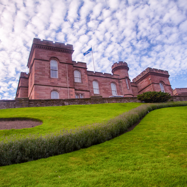 Inverness Castle seen from below the castle hill.