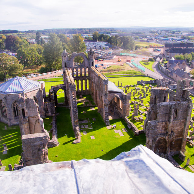View from to top of a onto the ruins of Elgin Cathedral.