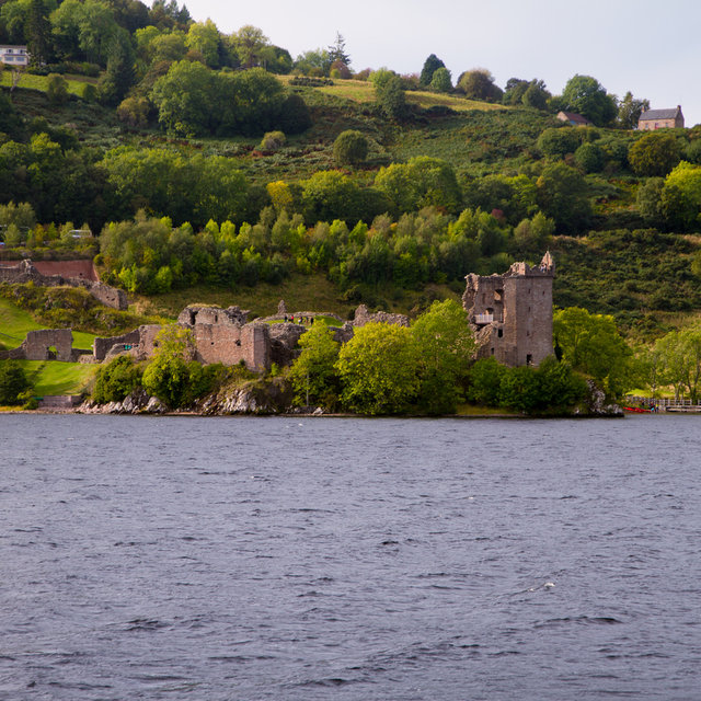 View from Loch Ness onto Urquhart Castle.