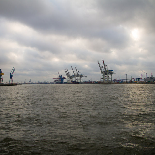 View over the Hamburg harbour.