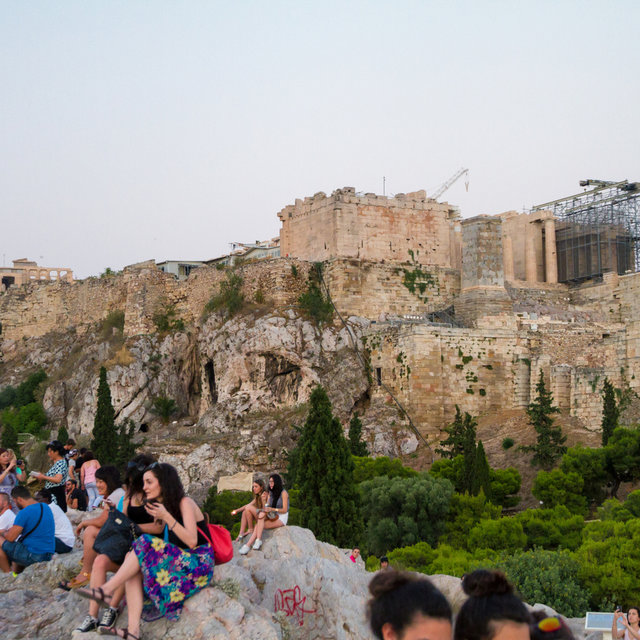 View from the Areopagus hill towards the Acropolis of Athens.