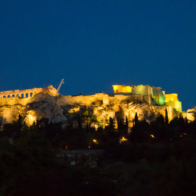 Acropolis of Athens at night.