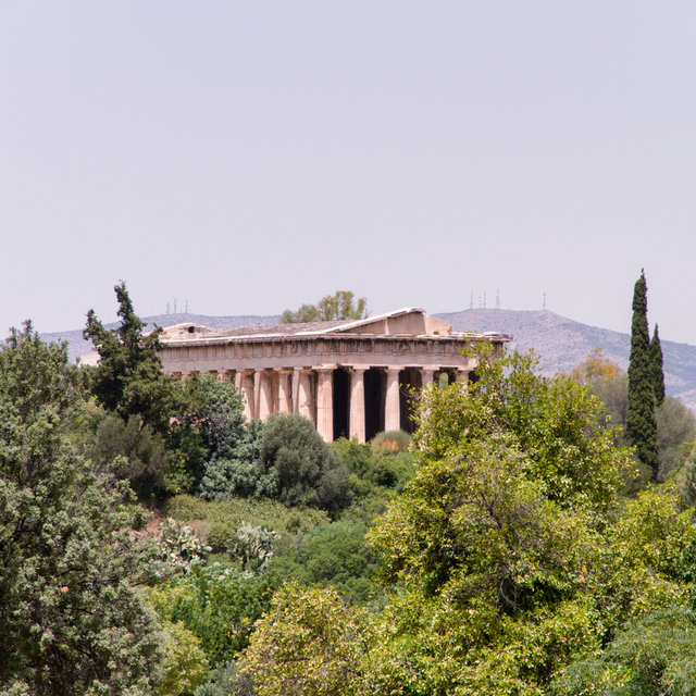 The Temple of Hephaestus north of the Ancient Agora of Athens.