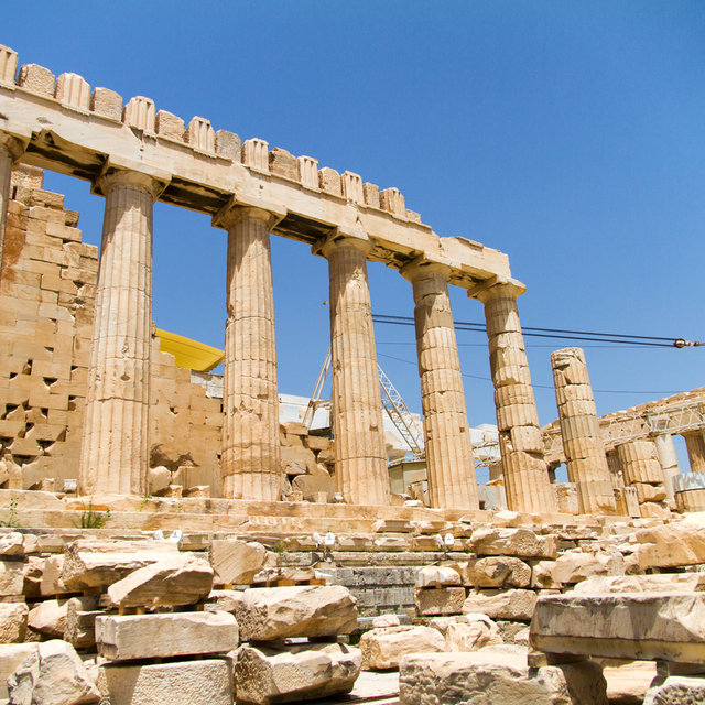 The south side of the Parthenon in the Acropolis of Athens.