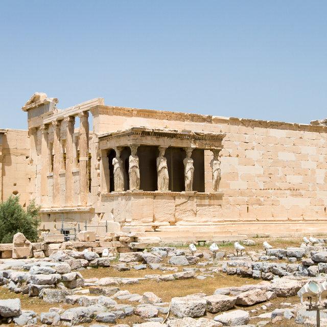 The Erechtheion in the Acropolis of Athens.