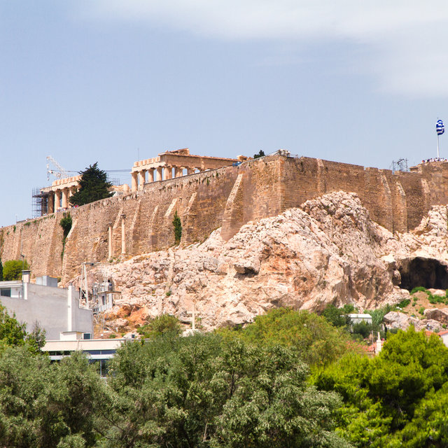 The Acropolis seen from the Temple of Olympian Zeus.