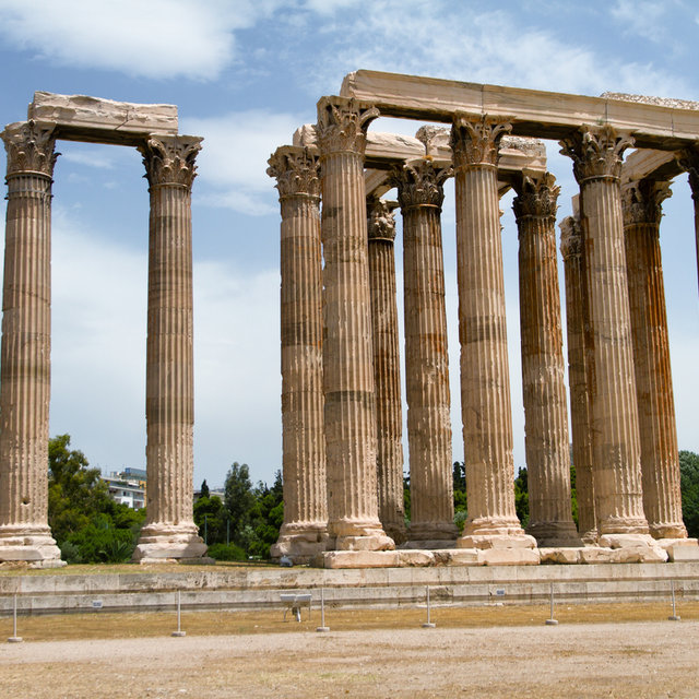 Remaining standing Corinthian columns of the Temple of Olympian Zeus.