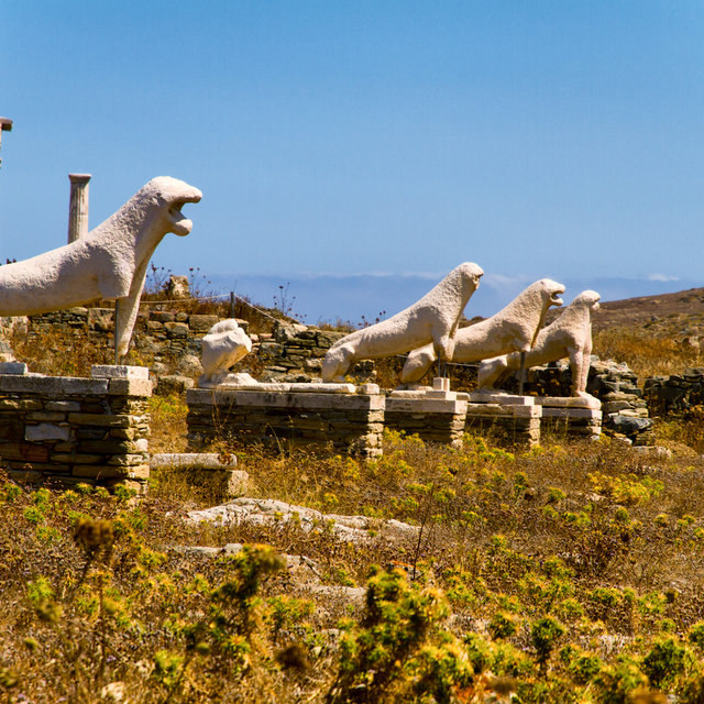 Ancient lion statues on Delos.
