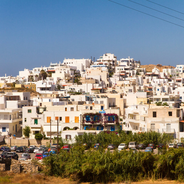 View over the rooftops of Desolate house in Naxos.