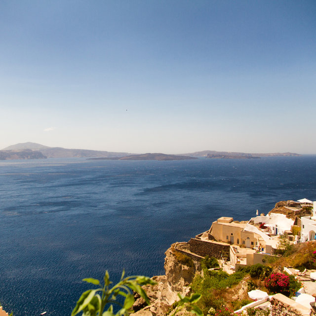 View of Nea Kameni from the village of Oia.