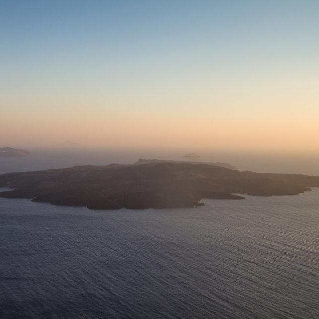 Nea Kameni during sunset.