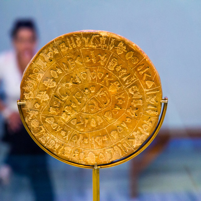Phaistos Disc in the Heraklion Archaeological Museum.