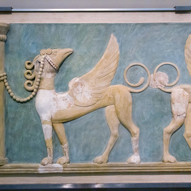 Griffin fresco from Knossos presented in the Heraklion Archaeological Museum.