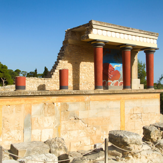 Ruins at the archaeological site of Knossos.