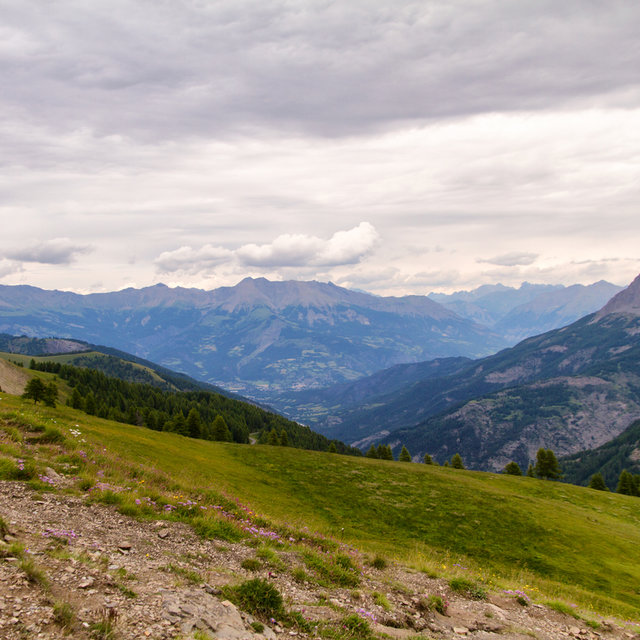 View of the Alps on top of the Col d'Allos.