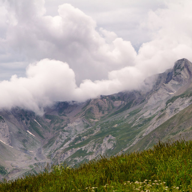 Clouds covering a mountain seen from the Col d'Allos.