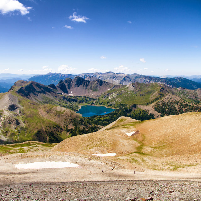 View from the slopes of Mont Pelat towards the Lac d'Allos.