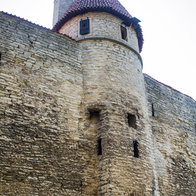 Guard tower in the old city wall of Tallinn.